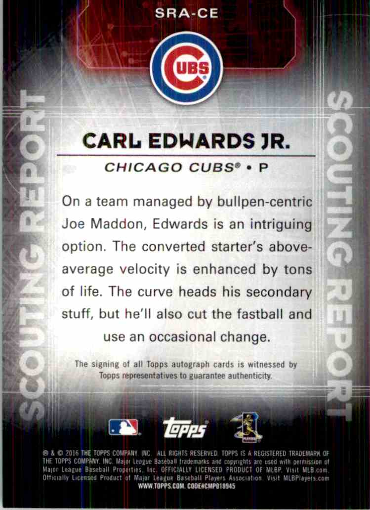 2015 Topps Carl Edwards JR. #SRA-CE card back image