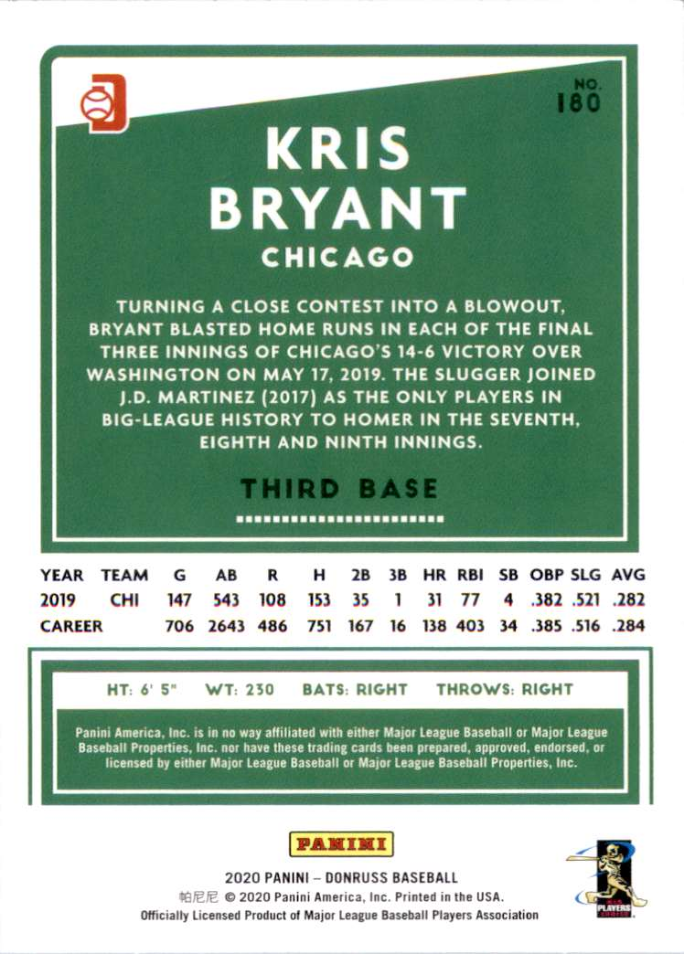 2020 Donruss Variations Kris Bryant #180 card back image