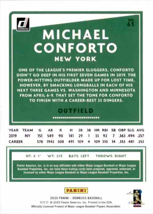 2020 Donruss Holo Orange Michael Conforto #63 card back image