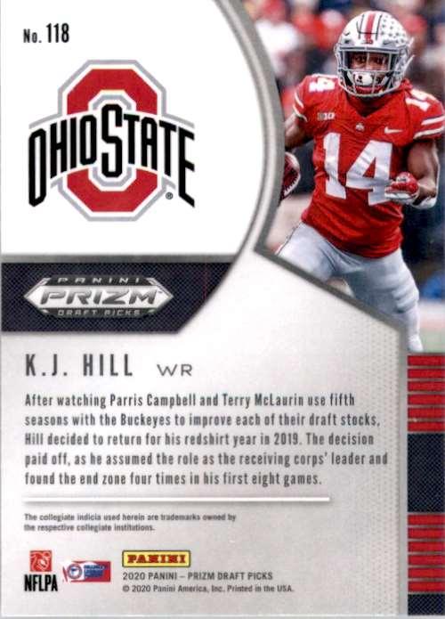 2020 Panini Prizm Draft Picks K.J. Hill #118 card back image
