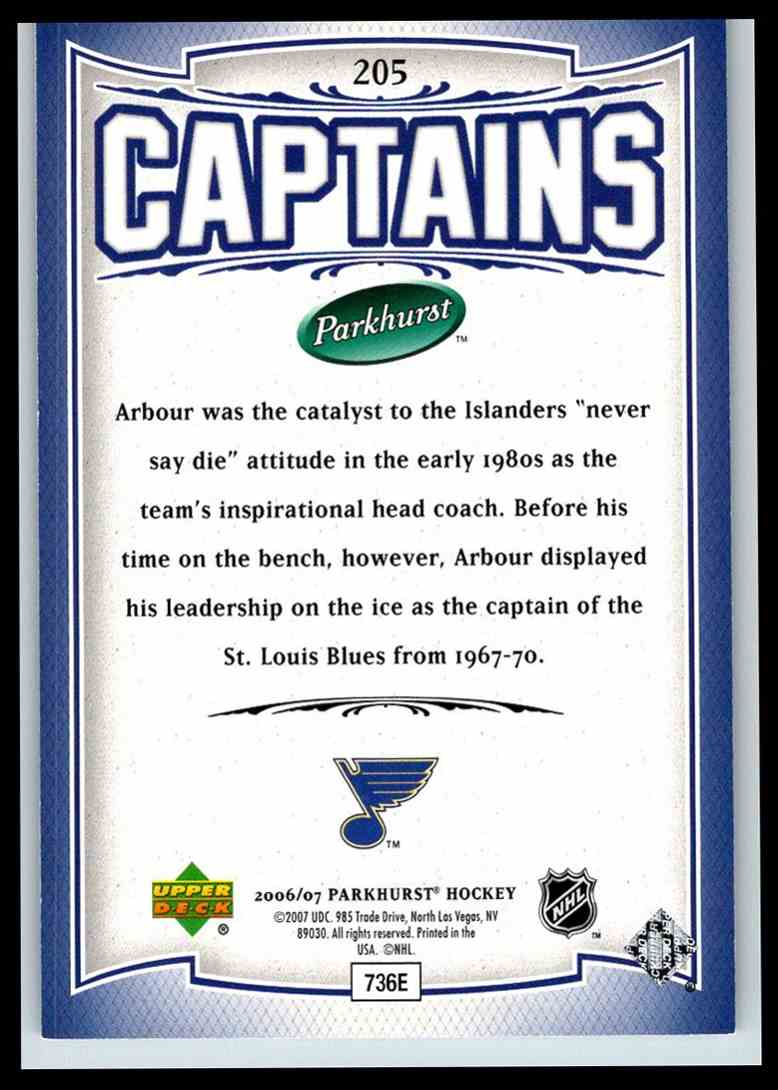 2006-07 Parkhurst Captains Al Arbour #205 card back image