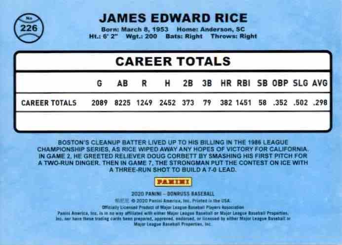 2020 Donruss Jim Rice Retro #226 card back image