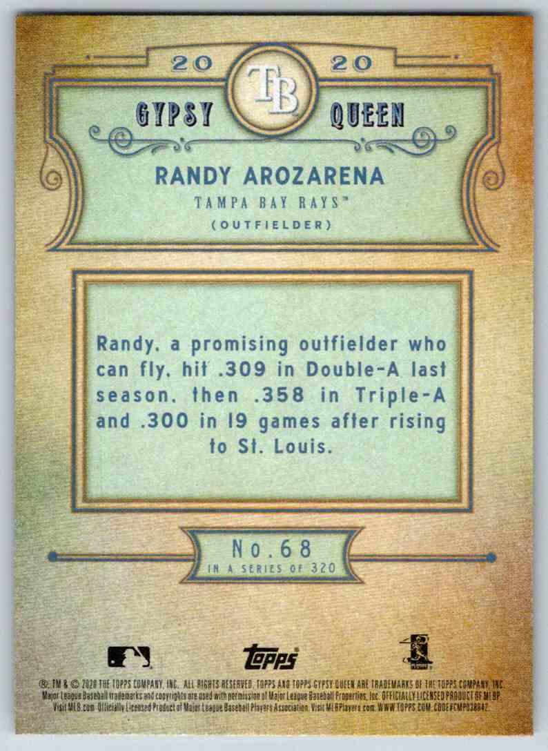 2020 Topps Gypsy Queen Base Randy Arozarena #68 card back image