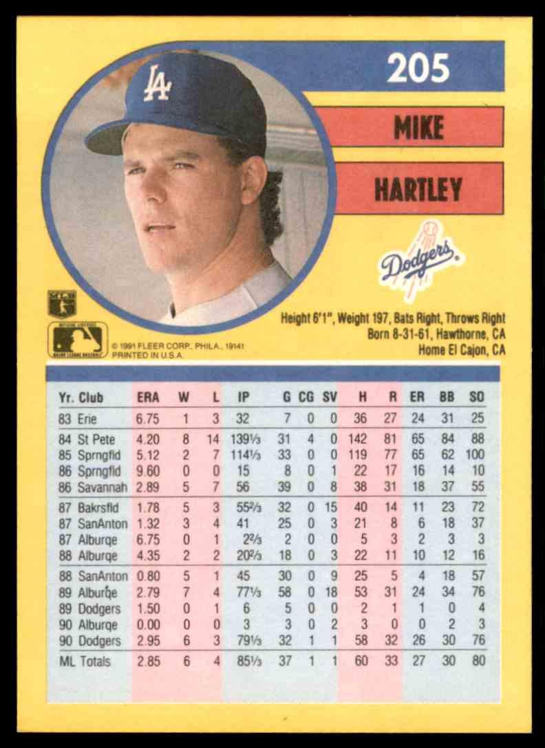 1991 Fleer Mike Hartley #205 card back image