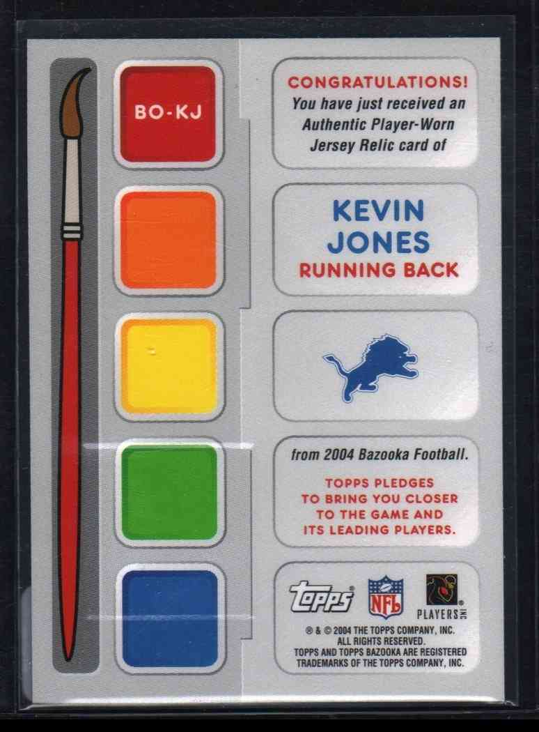 2004 Topps Kevin Jones #BO-KJ card back image