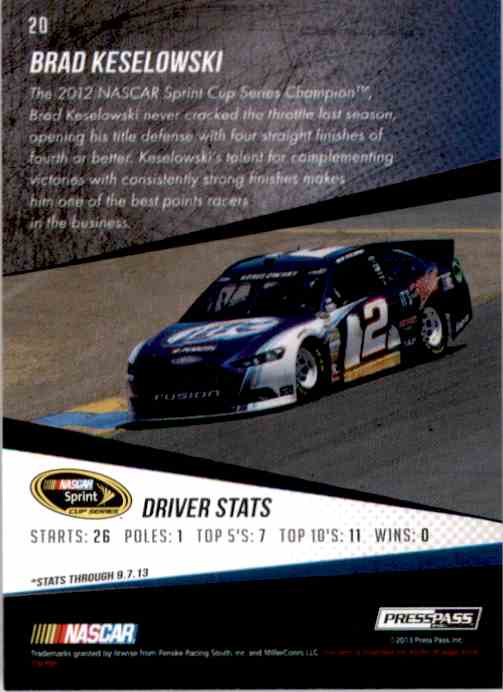 2014 Press Pass Brad Keselowski #20 card back image