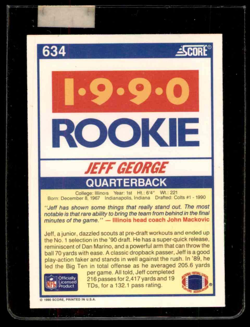 1990 Score Jeff George 634 On Kronozio