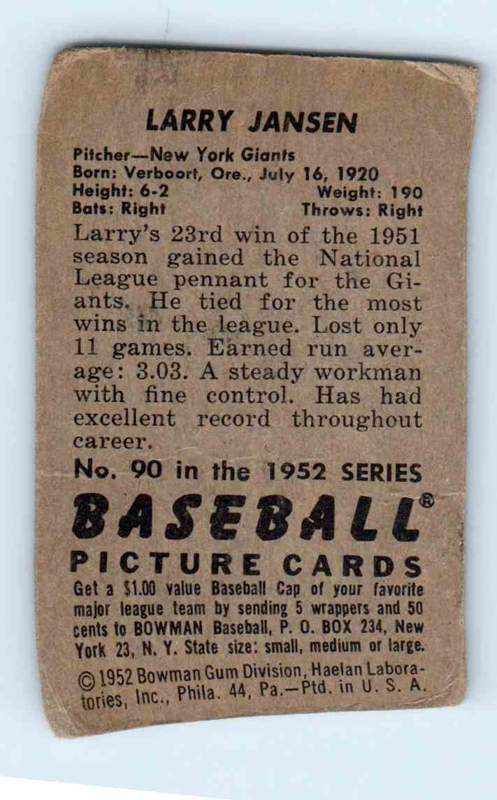 1952 Bowman Larry Jansen #90 card back image