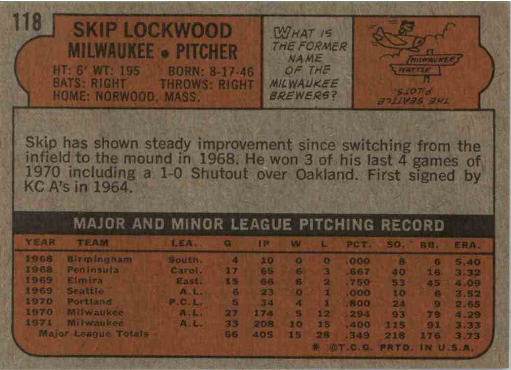 1972 Topss Skip Lockwood #118 card back image