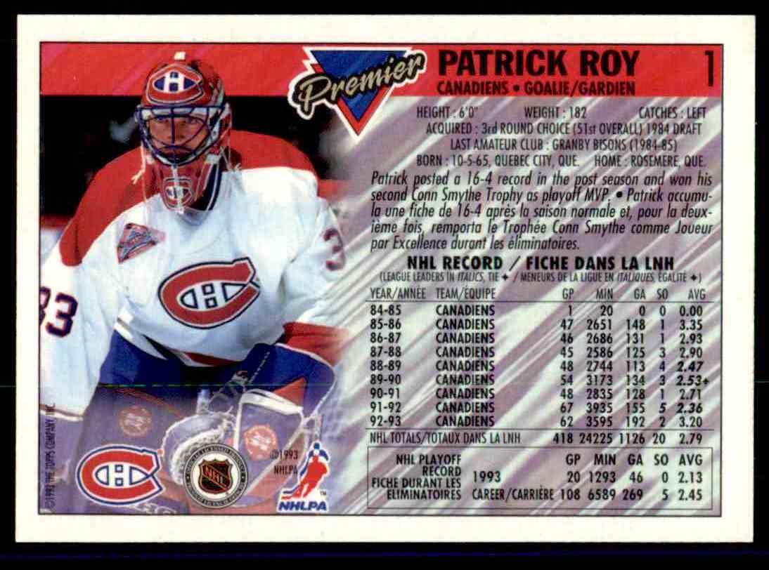 1993-94 Topps Premier Patrick Roy #1 card back image
