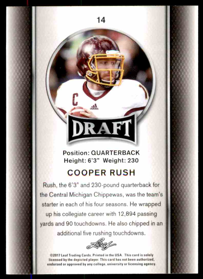 2017 Leaf Draft Cooper Rush #14 card back image