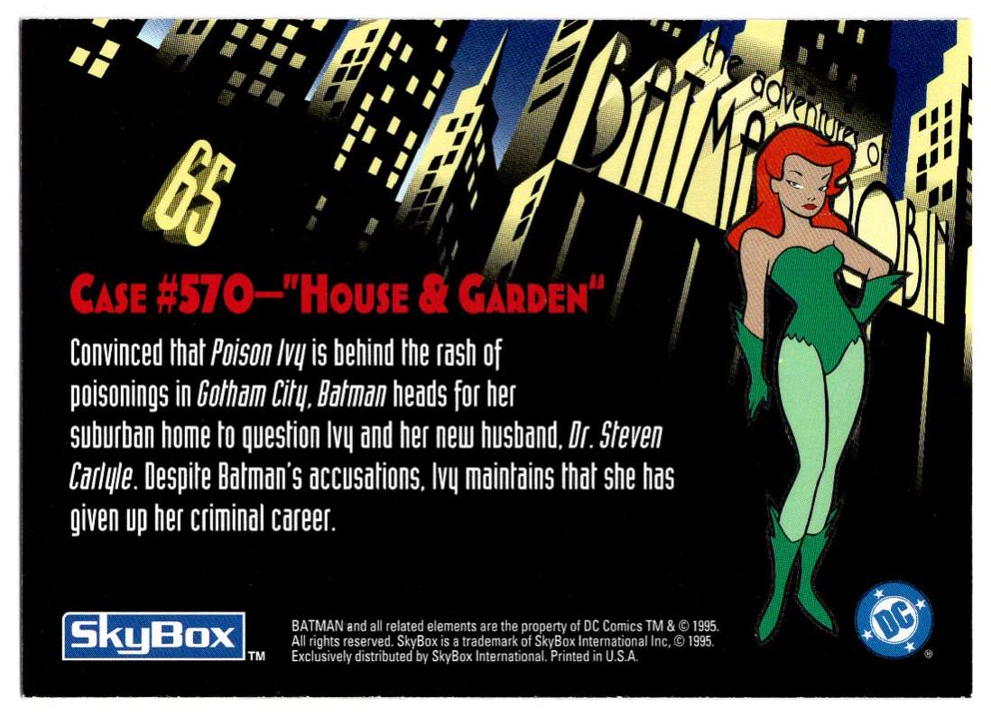 1995 Skybox Adventures Of Batman And Robin House & Garden #65 card back image
