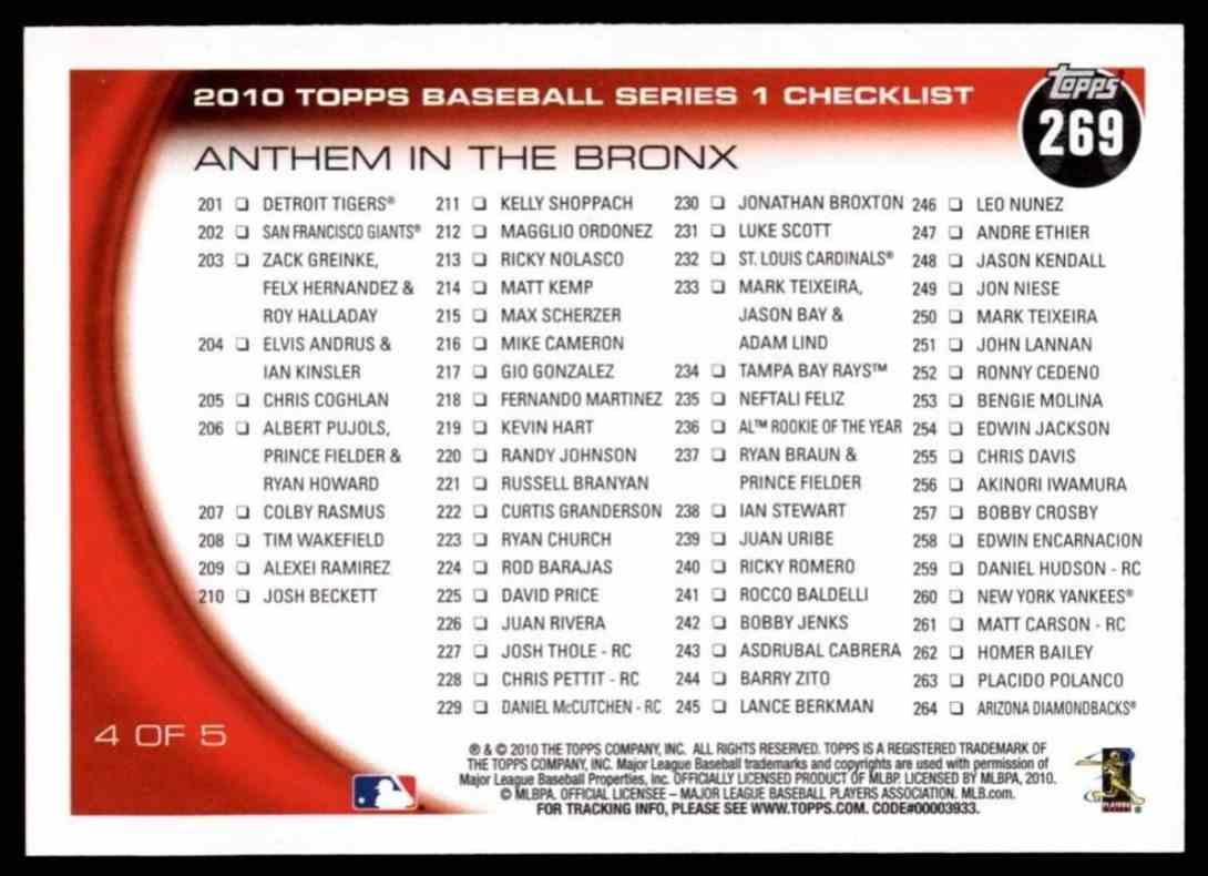 2010 Topps Anthem In The Bronx - Alex Rodriguez / Derek Jeter / Robinson Cano #269 card back image