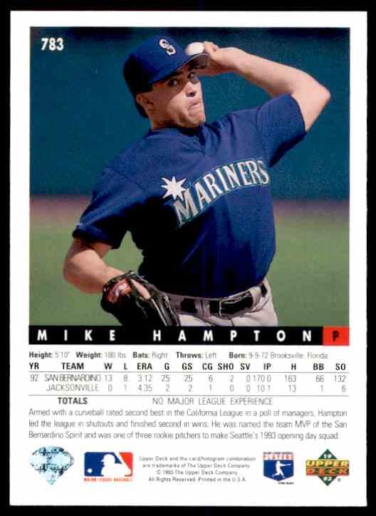 1993 Upper Deck Mike Hampton #783 card back image
