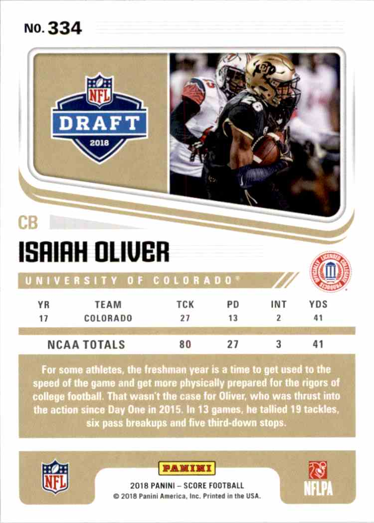 2018 Panini Score Red Parallel Isaiah Oliver #334 card back image
