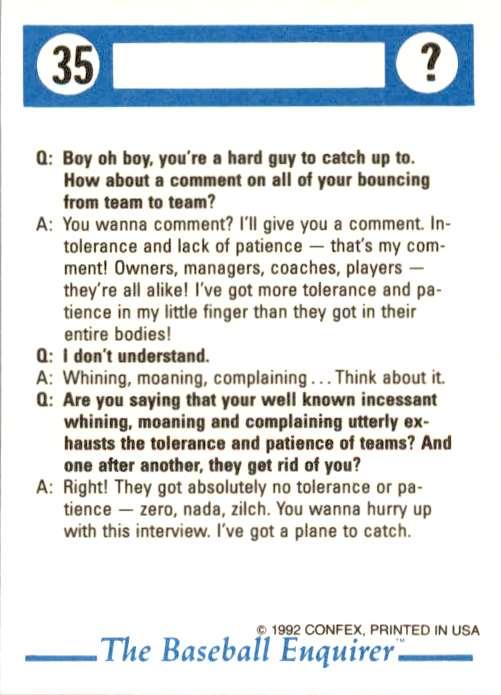 1992 Confex Baseball Enquirer Scott Bailes #35 card back image