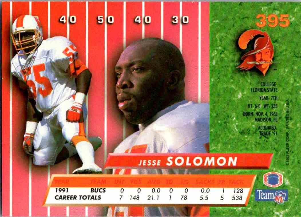 1992 Fleer Ultra Jesse Solomon #395 card back image