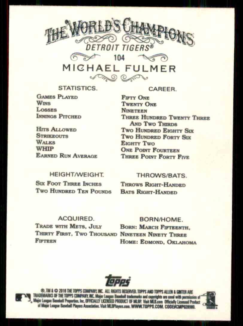 2018 Topps Allen & Ginter Michael Fulmer #104 card back image