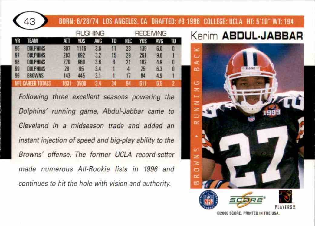 2000 Score Karim Abdul-Jabbar #43 card back image