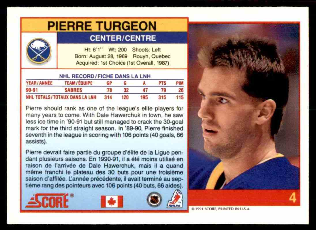 1991-92 Score Canadian Bilingual Pierre Turgeon #4 card back image
