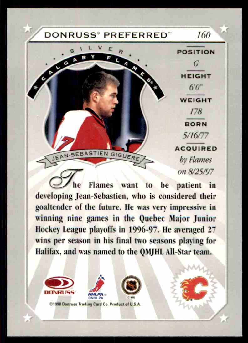 1997-98 Donruss Preferred Jean-Sebastien Giguere #160 card back image