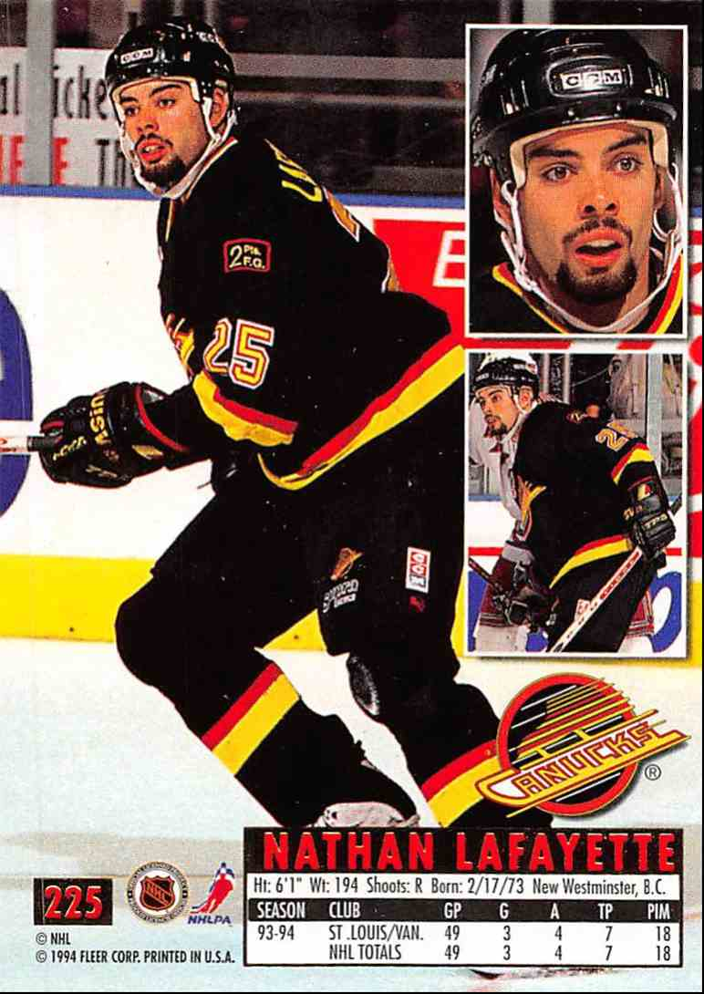1994-95 Ultra Nathan Lafayette #225 card back image