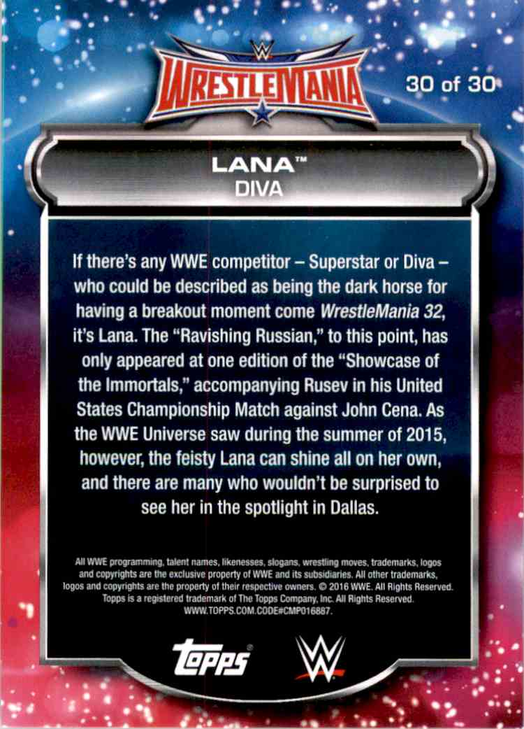 2016 Topps Wwe Road To WrestleMania Roster Lana #30 card back image