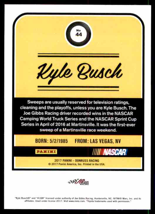 2017 Donruss Kyle Busch #44 card back image