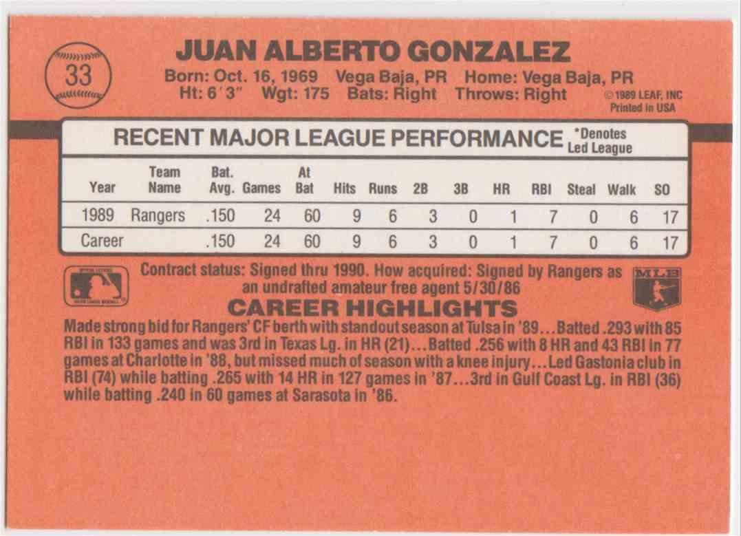 1990 Donruss Juan Gonzalez #33B card back image