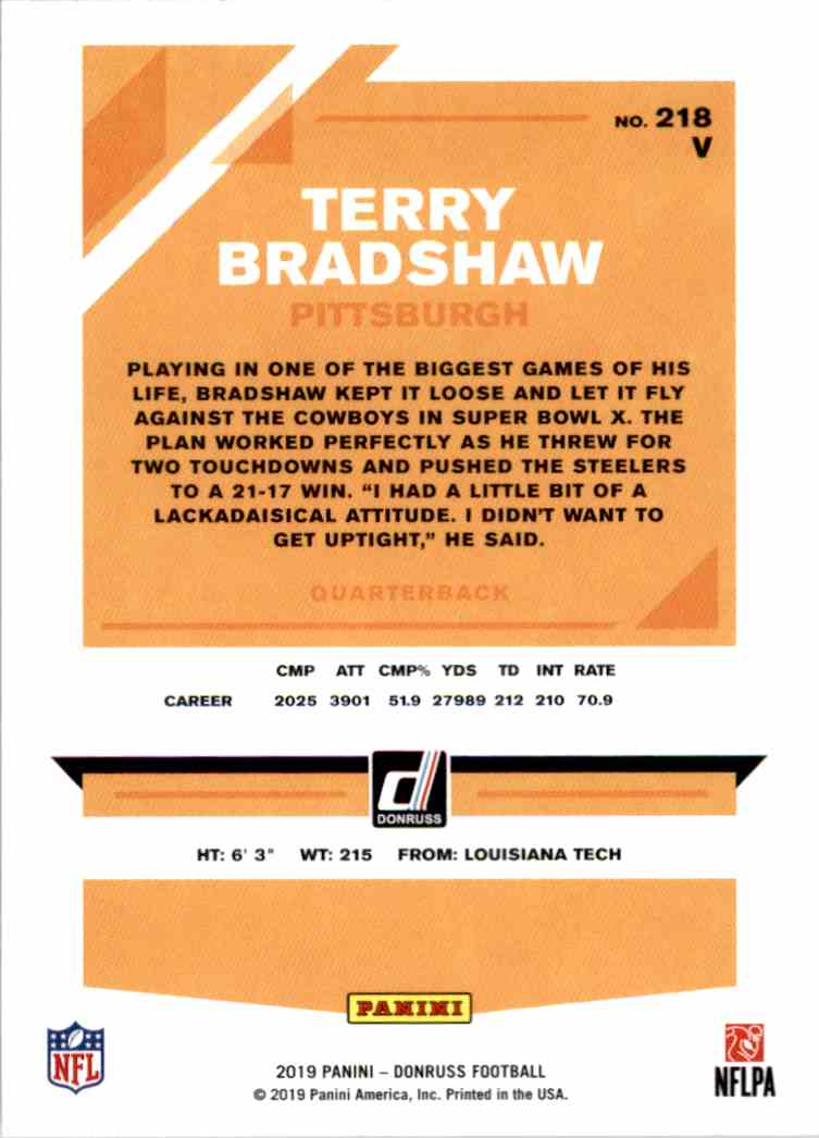 2019 Panini Donruss Terry Bradshaw #218V card back image