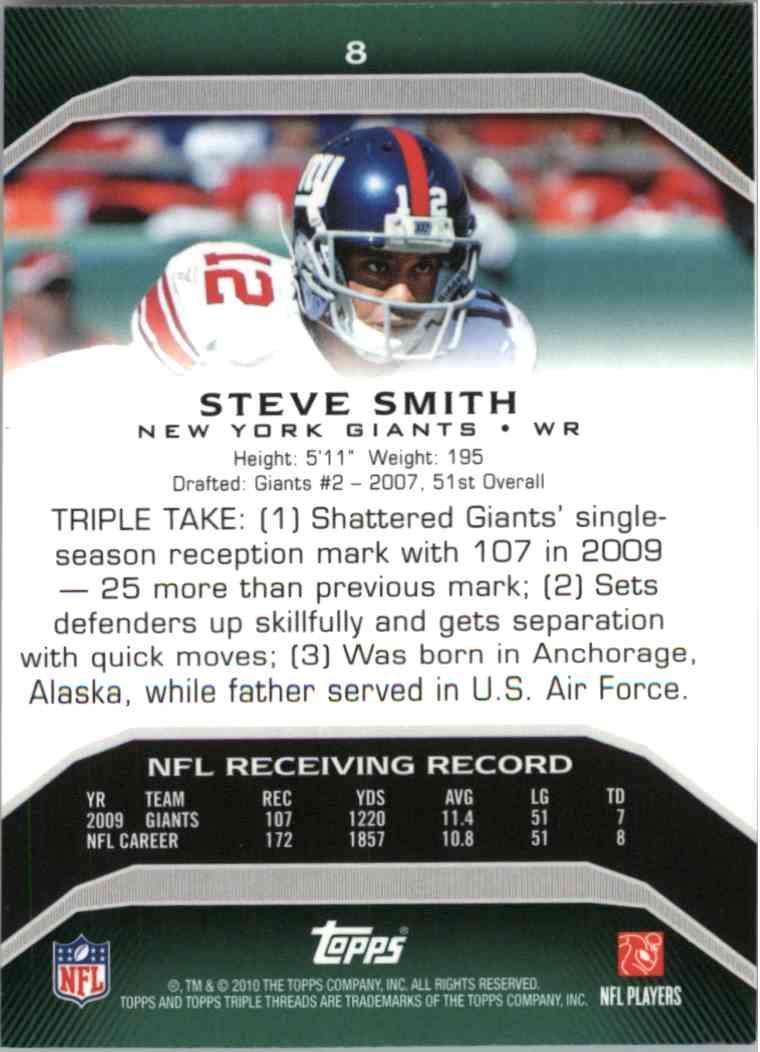 2010 Topps Triple Threads Steve Smith #8 card back image