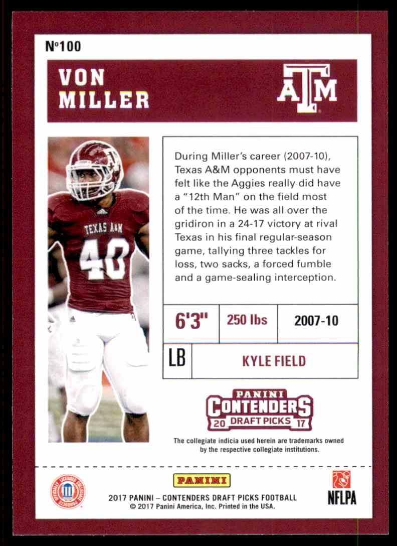 2017 Panini Contenders Draft Picks Von Miller #100 card back image