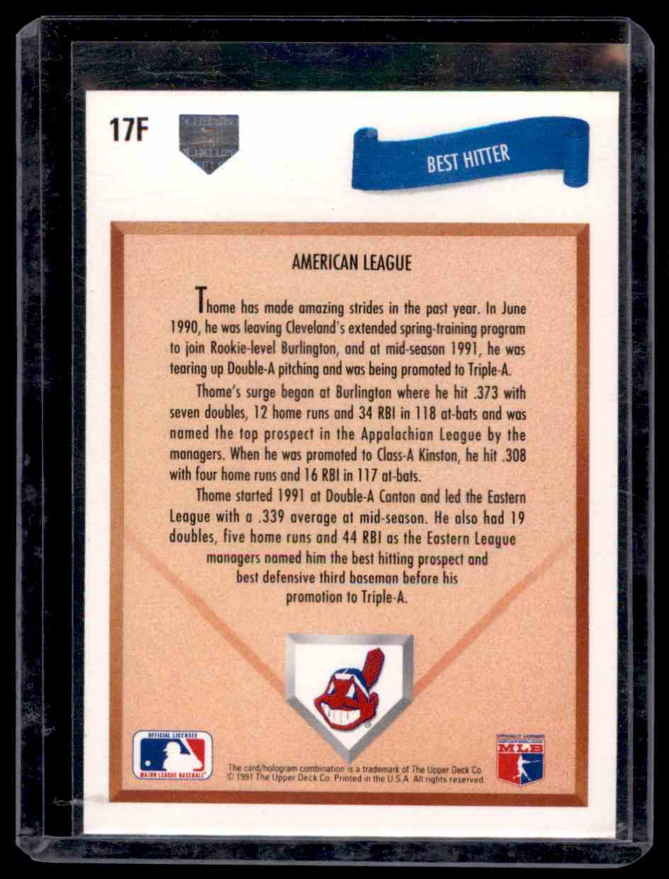 1991 Upper Deck Final Edition Jim Thome #17F card back image