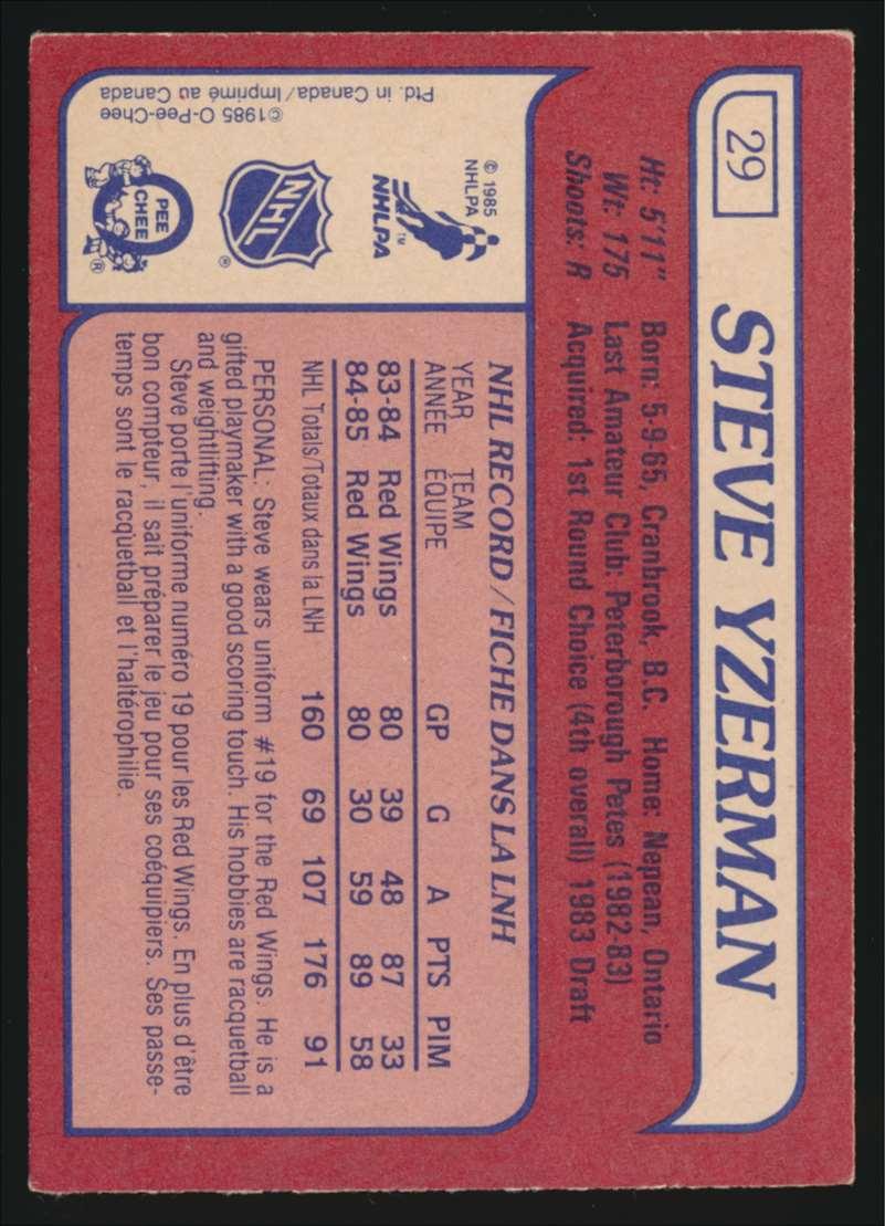 1985-86 OPC Steve Yzerman #29 card back image
