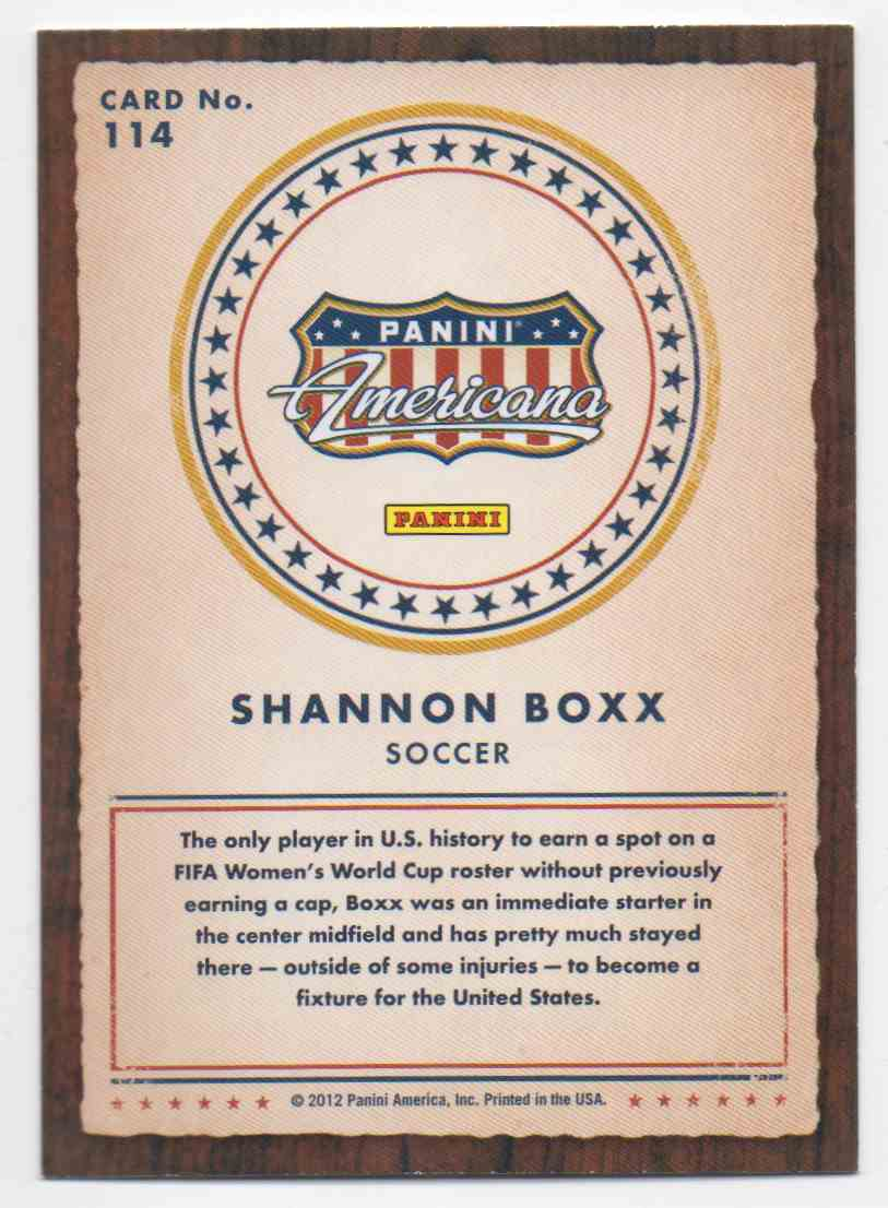2012 Panini Americana Shannon Boxx #114 card back image