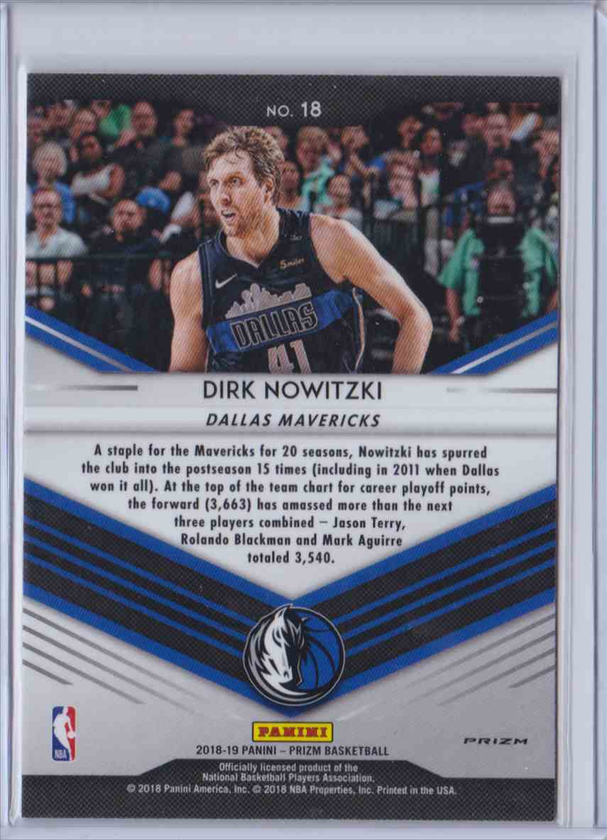 2018-19 Prizm Go Hard Or Go Home Hyper Dirk Nowitzki #18 card back image