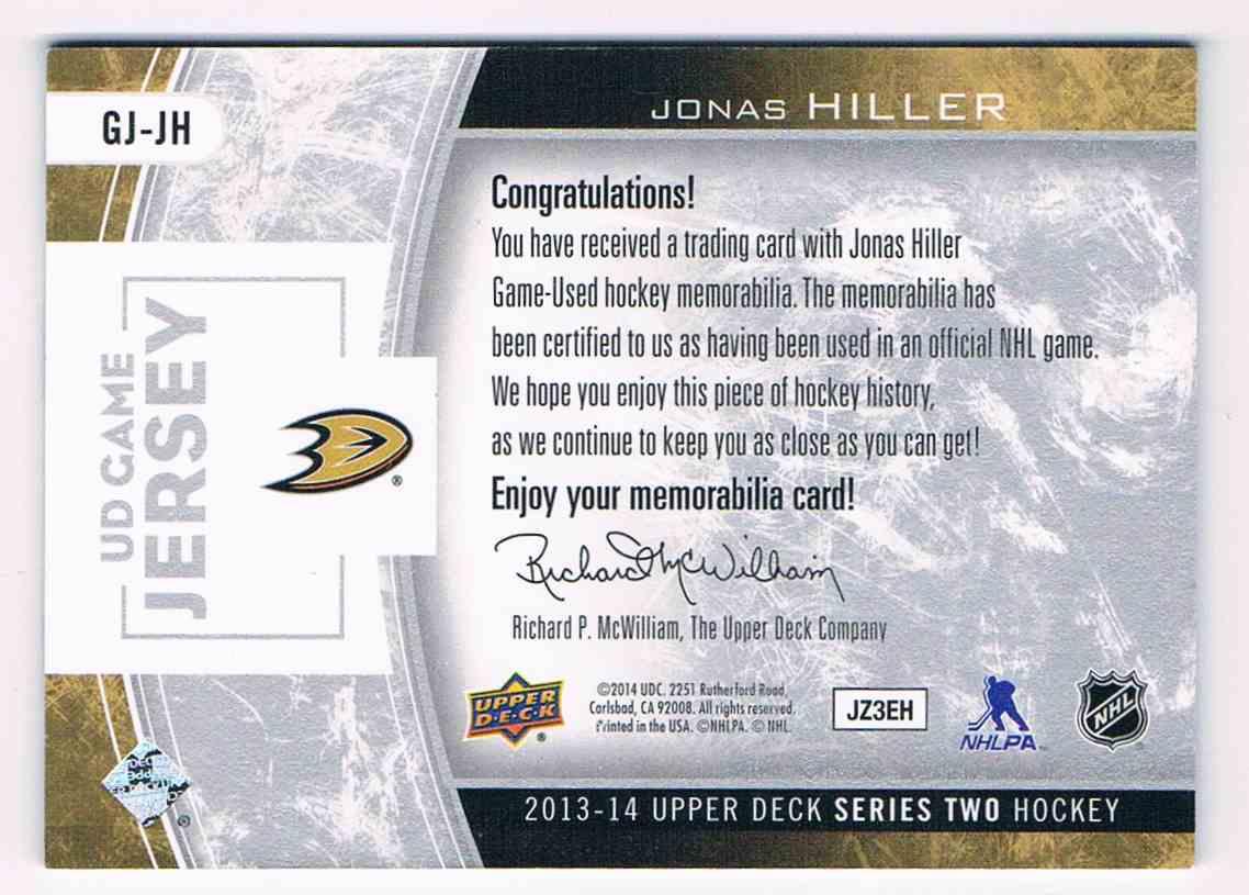 2013-14 Upper Deck Series Two Jonas Hiller #GJ-JH card back image