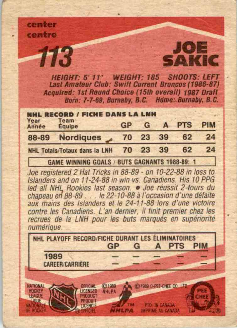 1989-90 O-Pee-Chee Joe Sakic #113 card back image