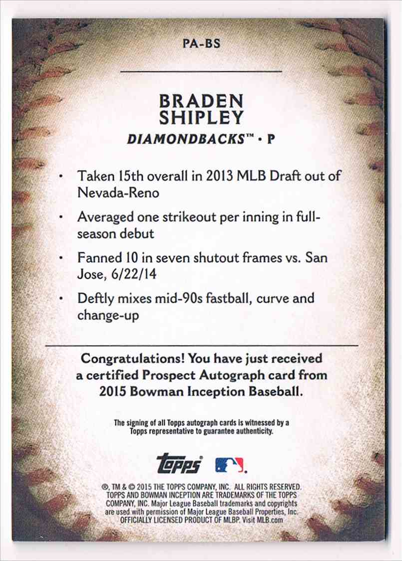 2015 Topps Inception Braden Shipley #PA-BS card back image