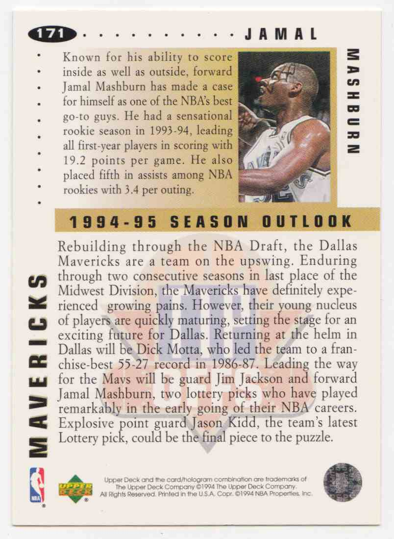 1994-95 Upper Deck Collector's Choice Base Jamal Mashburn #171 card back image