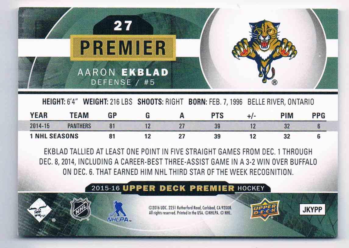 2015-16 Upper Deck Premier Aaron Ekblad #27 card back image