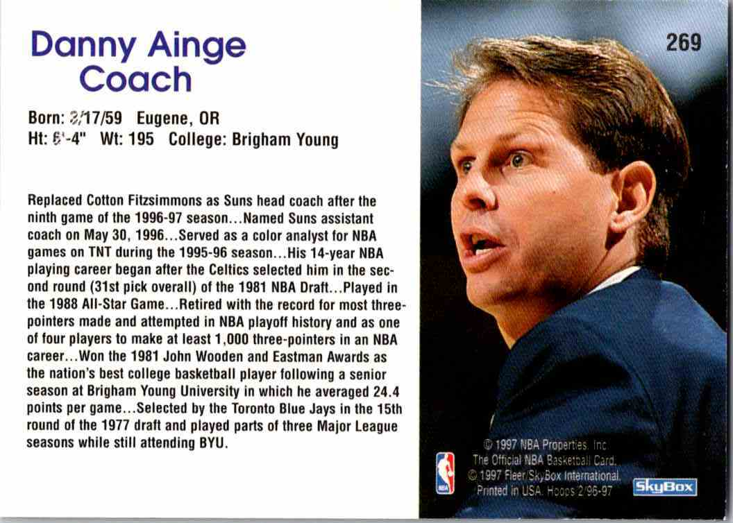 1997-98 NBA Hoops Danny Ainge #269 card back image