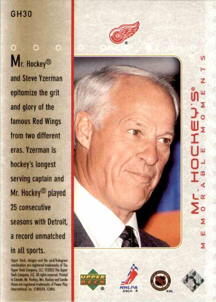 2003-04 Upper Deck MR. Hockey Gordie Howe #GH30 card back image