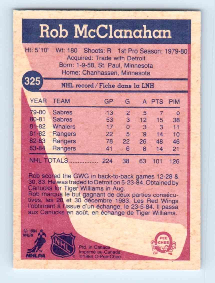 1984-85 O-Pee-Chee Rob McClanahan #325 card back image