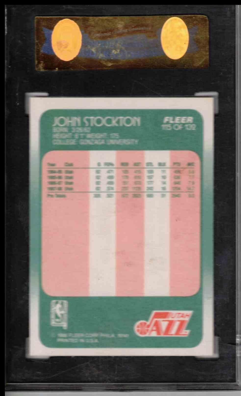 1989 Fleer John Stockton ##115 card back image