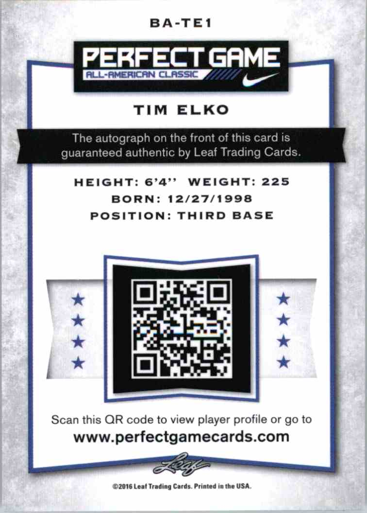 2016 Leaf Perfect Game Tim Elko #BA-TEI card back image