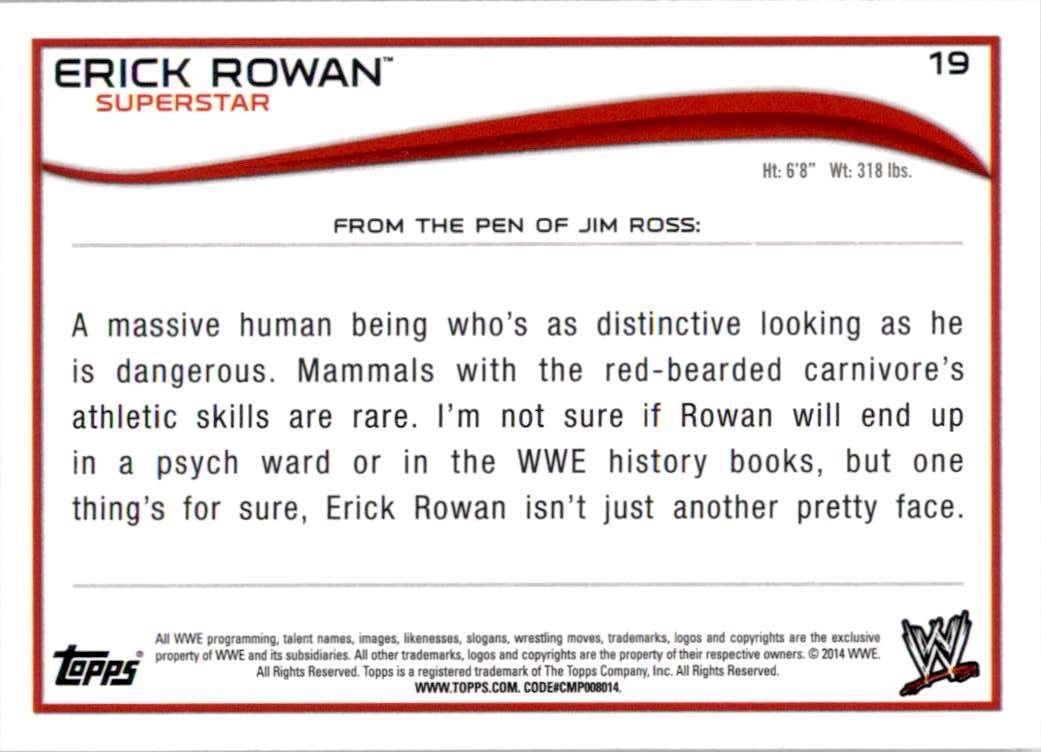 2014 Topps Wwe Erick Rowan #19 card back image