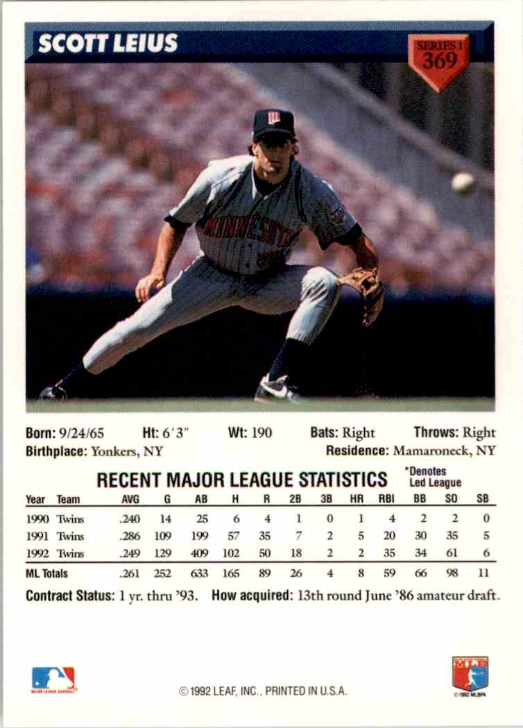 1993 Donruss Scott Leius #369 card back image