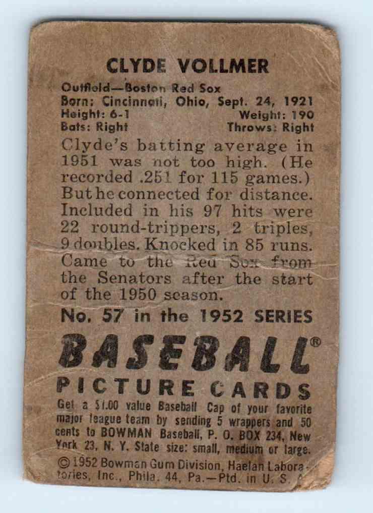 1952 Bowman Clyde Vollmer #57 card back image