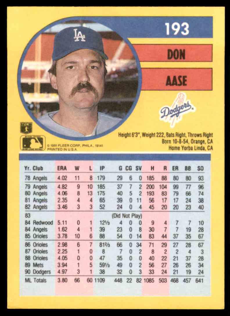 1991 Fleer Don Aase #193 card back image
